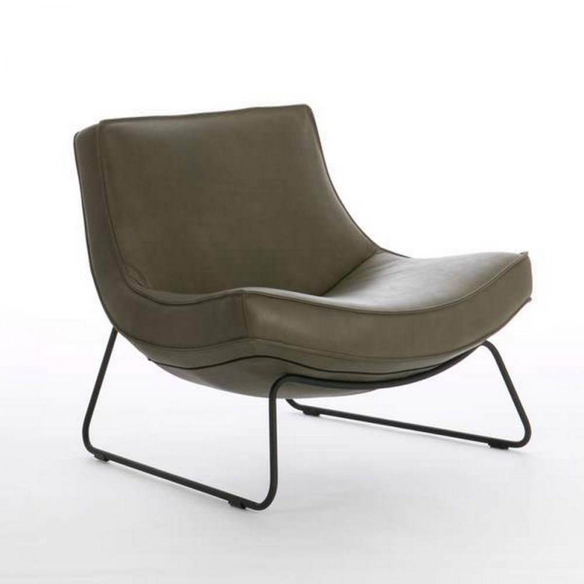 alawa-uwa-fauteuil-slede-frame-matzwart-leder-leer-groen