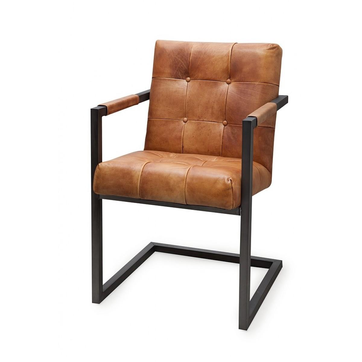 Badsal armstoel leer i live design for Eettafel stoelen cognac