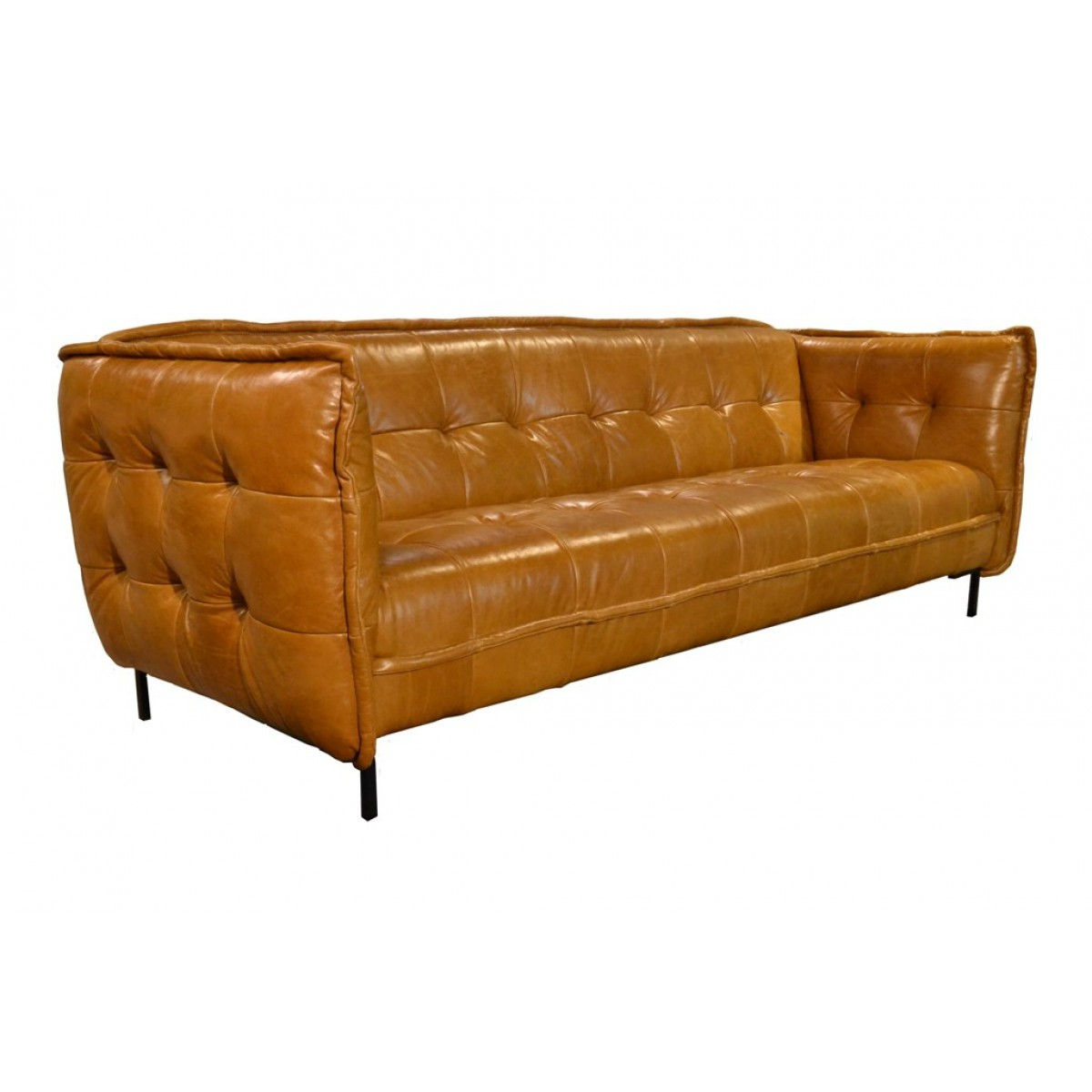 Slimm jim sofa leer cognac i live design for Sofa leder cognac