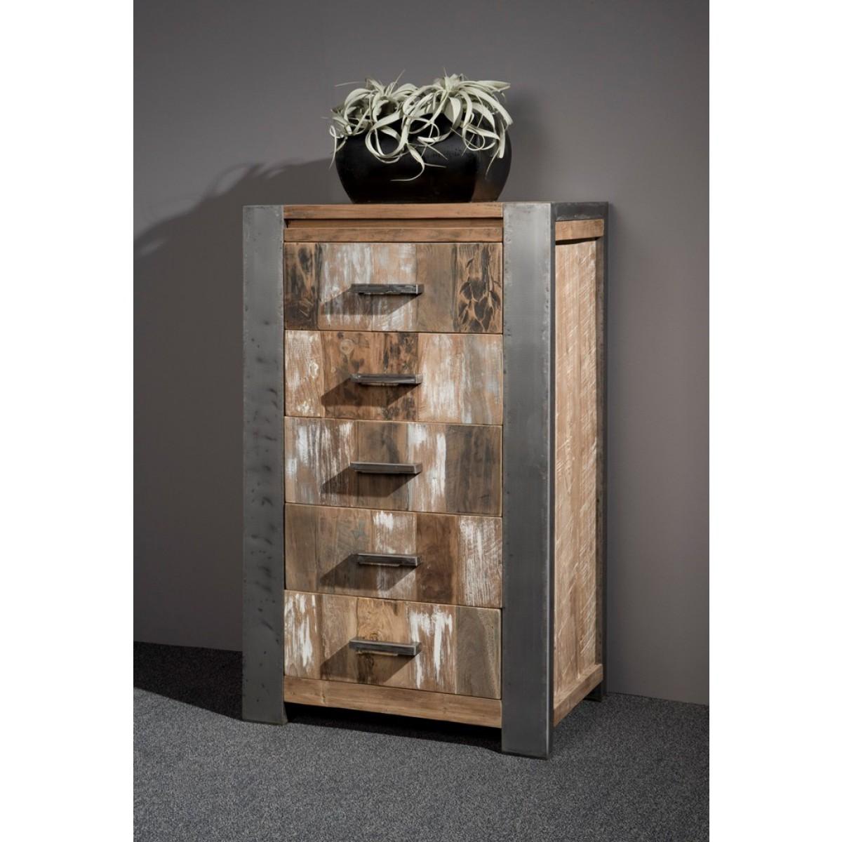ladenkast-5lade-teak-hout-recycled-metalen-poot-sfeer