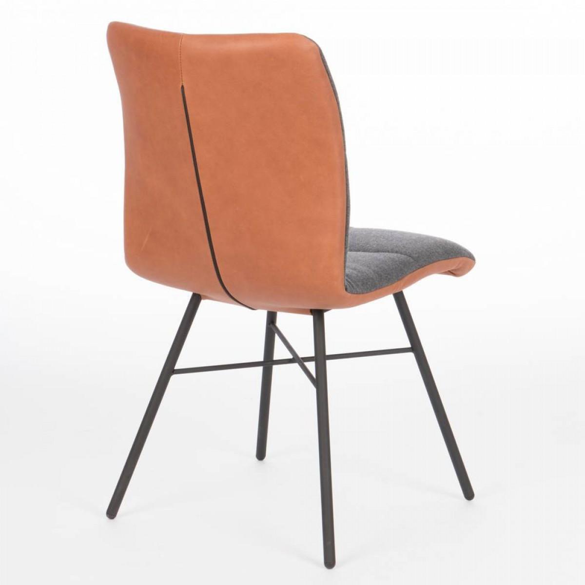 pepitto-stoel-stof-leer-combinatie-miltonhouse-spinpoot-zwart-achter