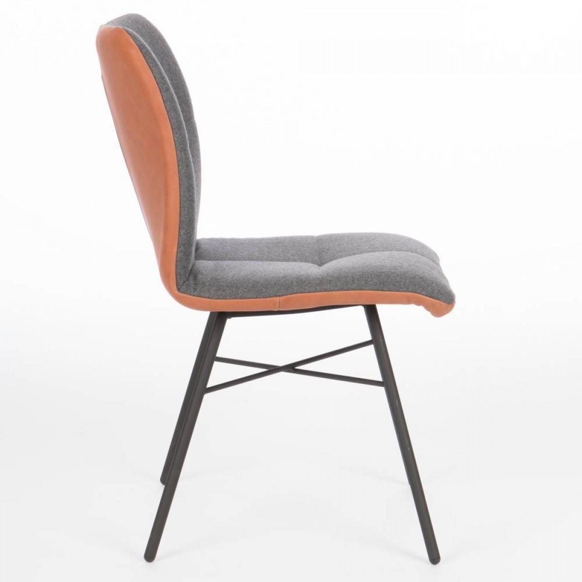 pepitto-stoel-stof-leer-combinatie-miltonhouse-spinpoot-zwart-zijkant