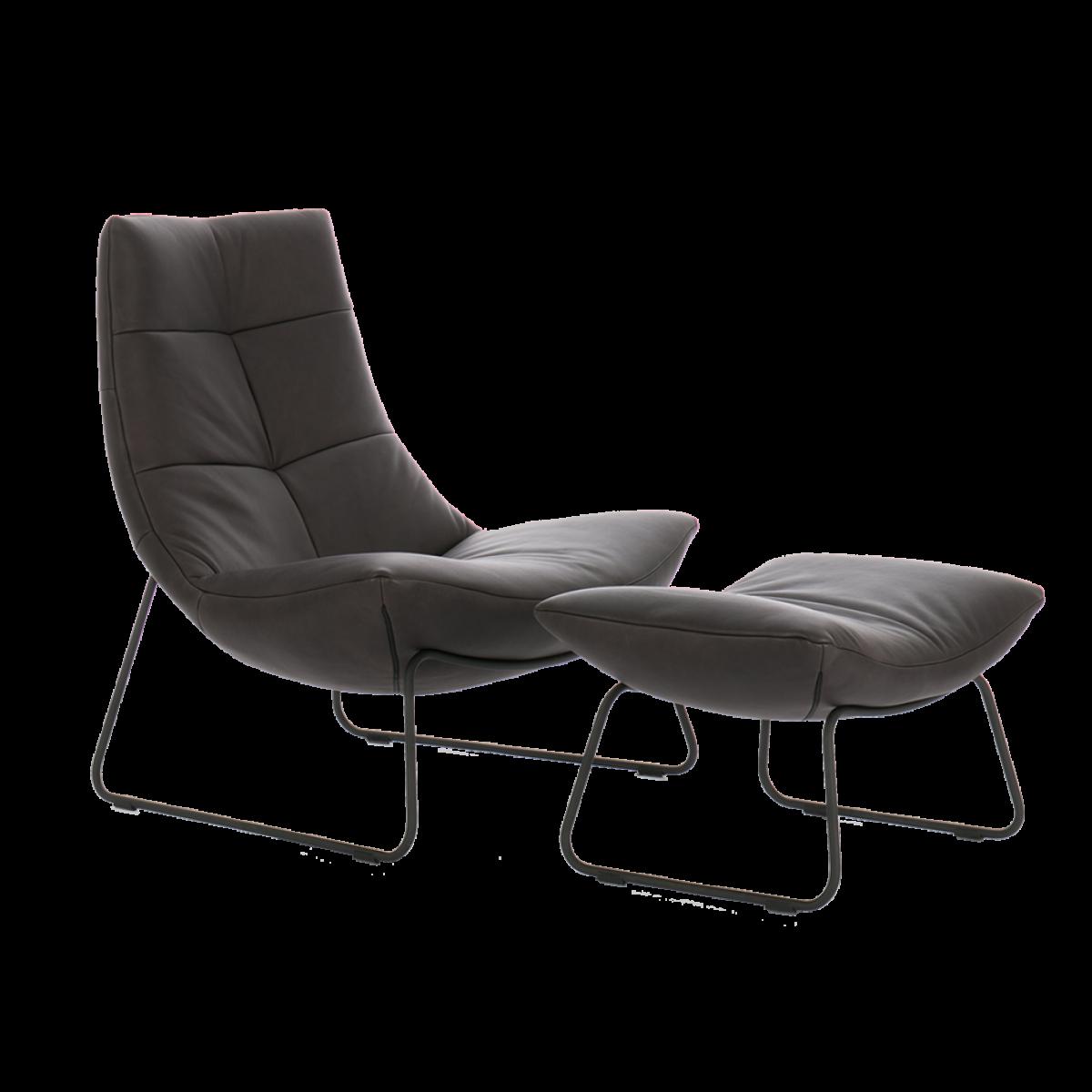 rebound-fauteuil-sledeframe-zwart-met-hocker