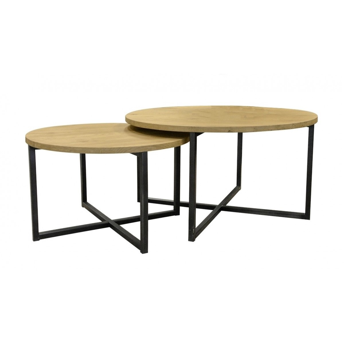 Set van 2 salontafels rond metaalframe eiken blad i live for Salontafel rond design
