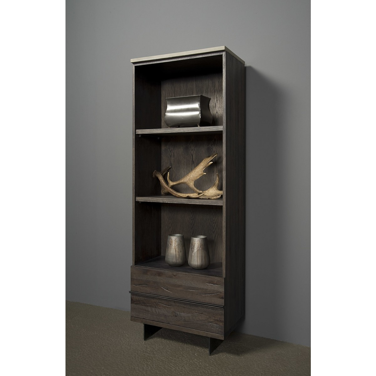 BM0145-boekenkast-samos-2-lades-eiken