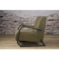 ranch-coffeechair-fauteuil-vintage-leer-olive-lm0011-zijkant