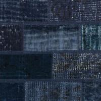 vintage patchwork vloerkleed dark blue