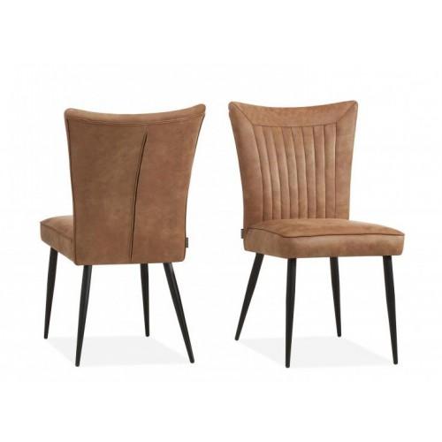 Gaga-stoel-eetkamerstoel-trendy-retro-vintage-cognac-pebble-steel