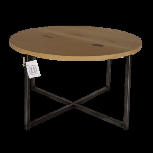 Ronde salontafel metaal/eiken blad