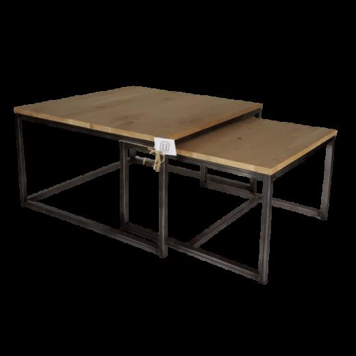 Set van 2 salontafels metaal/eiken blad